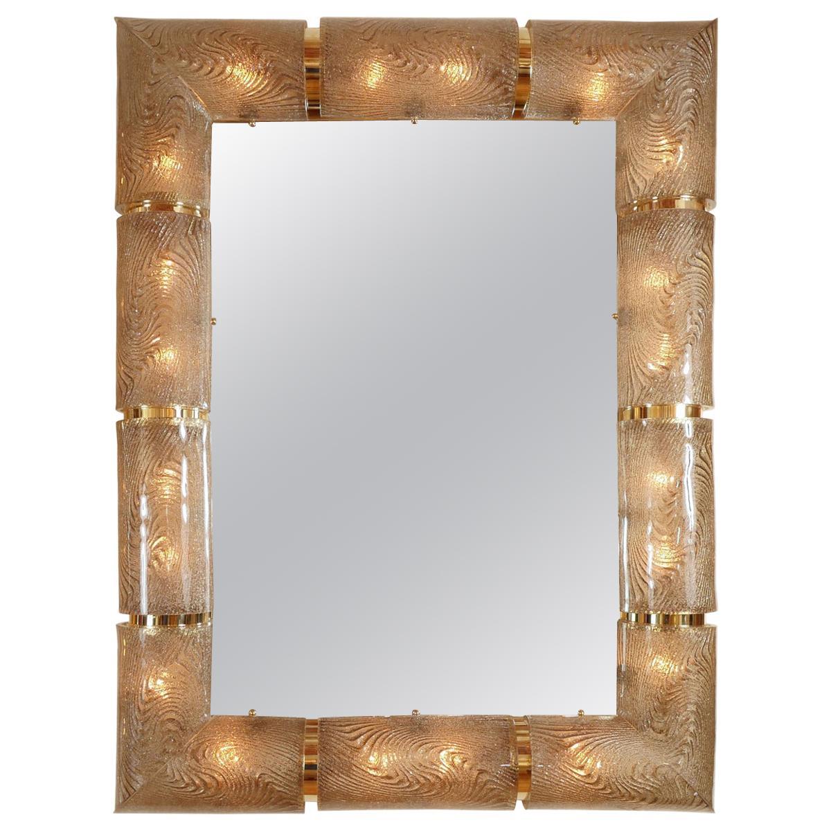 Rectangular Illuminated Mirror with Textured Glass Surround