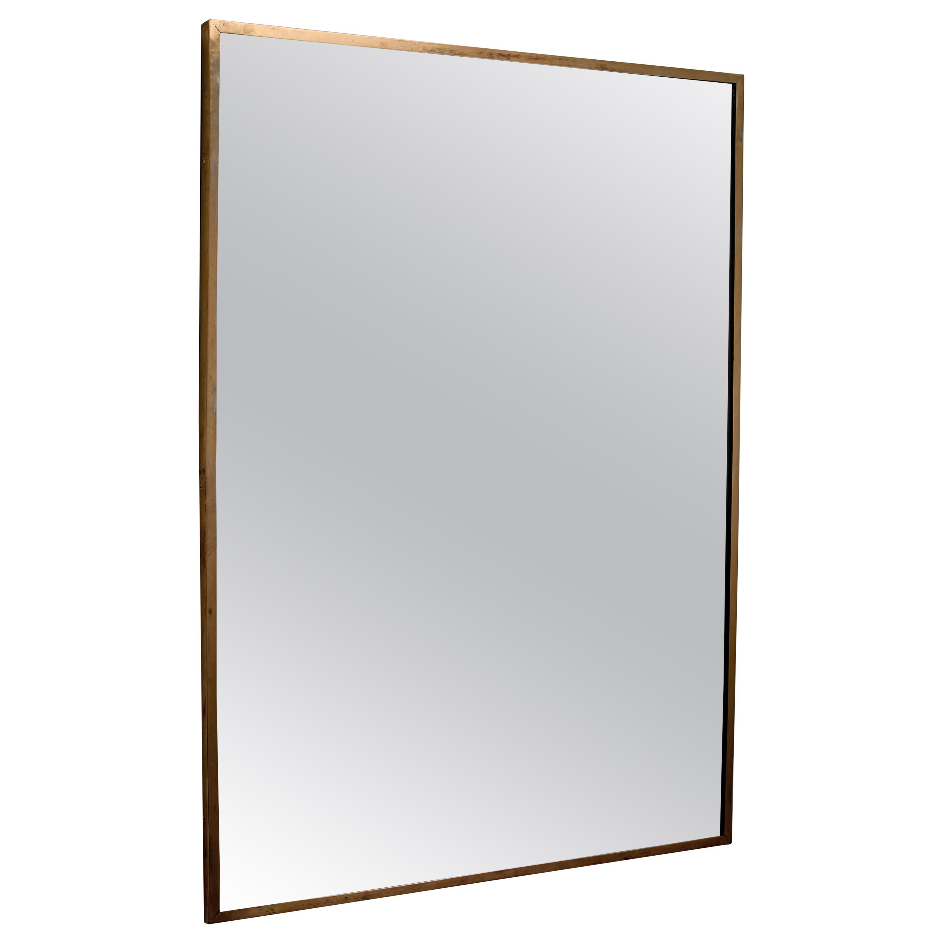 Rectangular Italian brass mirror, 1950s