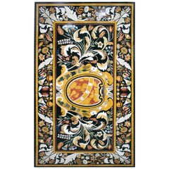 Rectangular Italian Florentine Pietra Dura Stone Inlay Marble Table Top