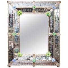 Rectangular Italian Murano Mirror with Glass Flower Heads