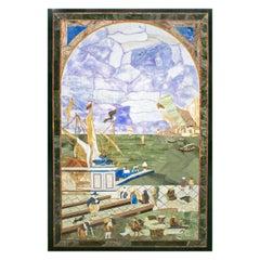 Rectangular Italian Pietra Dura Mosaic Inlay Stone Table Top with Marina Scene