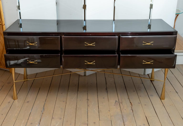 Rectangular Lacquered Wood and Brass Six-Drawer Console with Glass Top For Sale 1