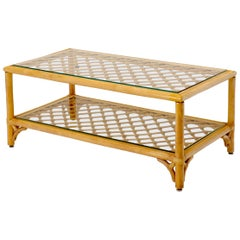 Rectangular Lattice Patters Two Tier Rattan and Bamboo Coffee Table
