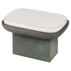 Rectangular Leather Stool, Olympia by Stephane Parmentier for Giobagnara