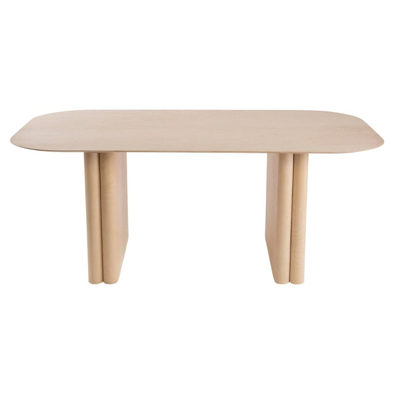 Rectangular Maple Dining or Conference Column Table With Rounded Edges For Sale