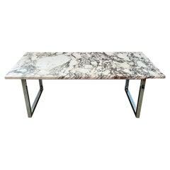 Rectangular Marble Cocktail Table on Chrome Base