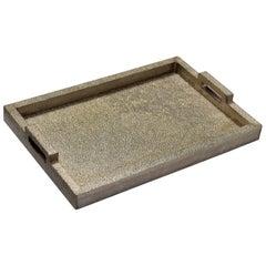 Rectangular Metal Clad Tray in White Metal