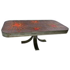 Rectangular Midcentury Coffee Table with Sun Tile Decor La Roue by Vallauris