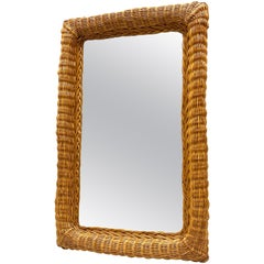 Rectangular Mid-Century Modern Handcrafted Wicker Frame Mirror, Germany, 1960s