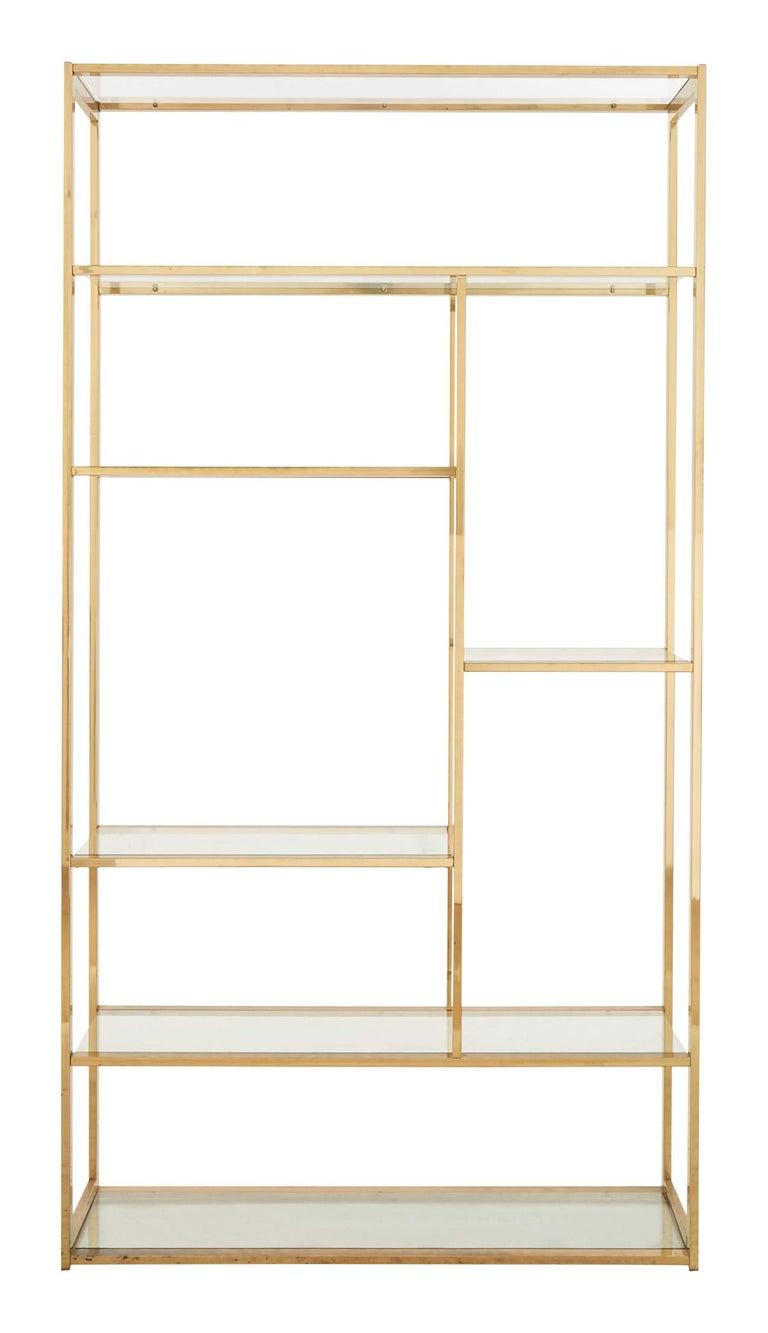 Mid-Century Modern Mid-Century Rectangular Brass Shelf For Sale