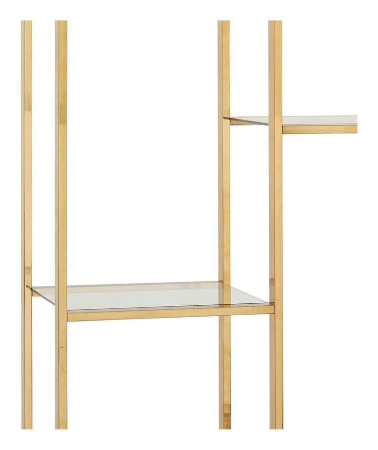 American Mid-Century Rectangular Brass Shelf For Sale