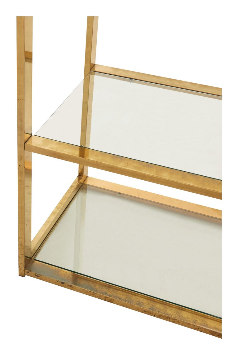 20th Century Mid-Century Rectangular Brass Shelf For Sale