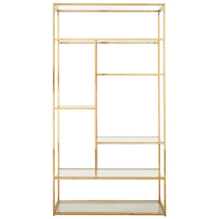 Mid-Century Rectangular Brass Shelf For Sale