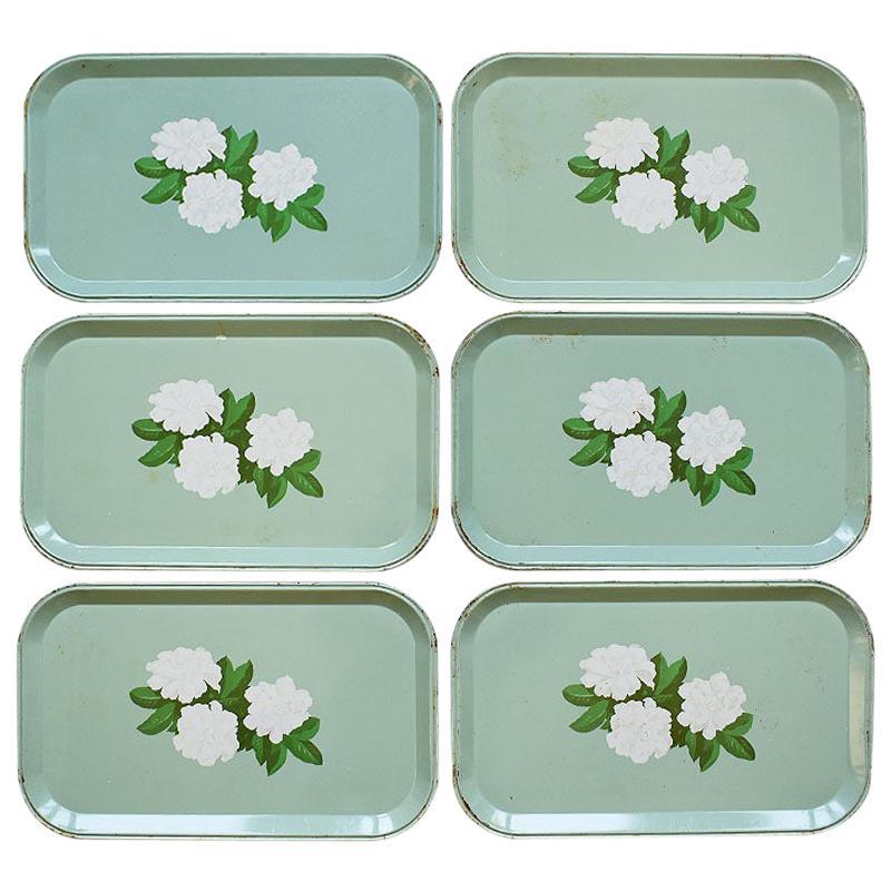 Rectangular Mint Green Tole Tin Magnolia Snack Trays Set of 6