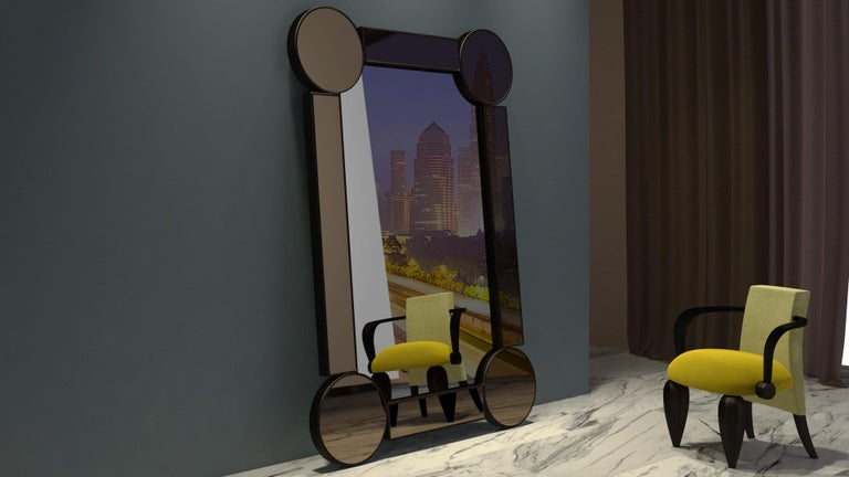 Italian Rectangular Mirror Drummond, in Oak and Fumé Glass, Italy For Sale