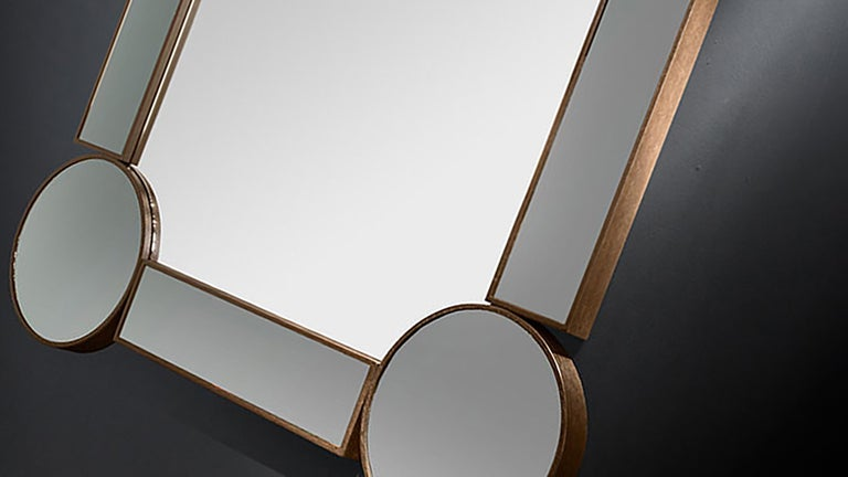 Modern Rectangular Mirror Drummond, in Oak and Fumé Glass, Italy For Sale