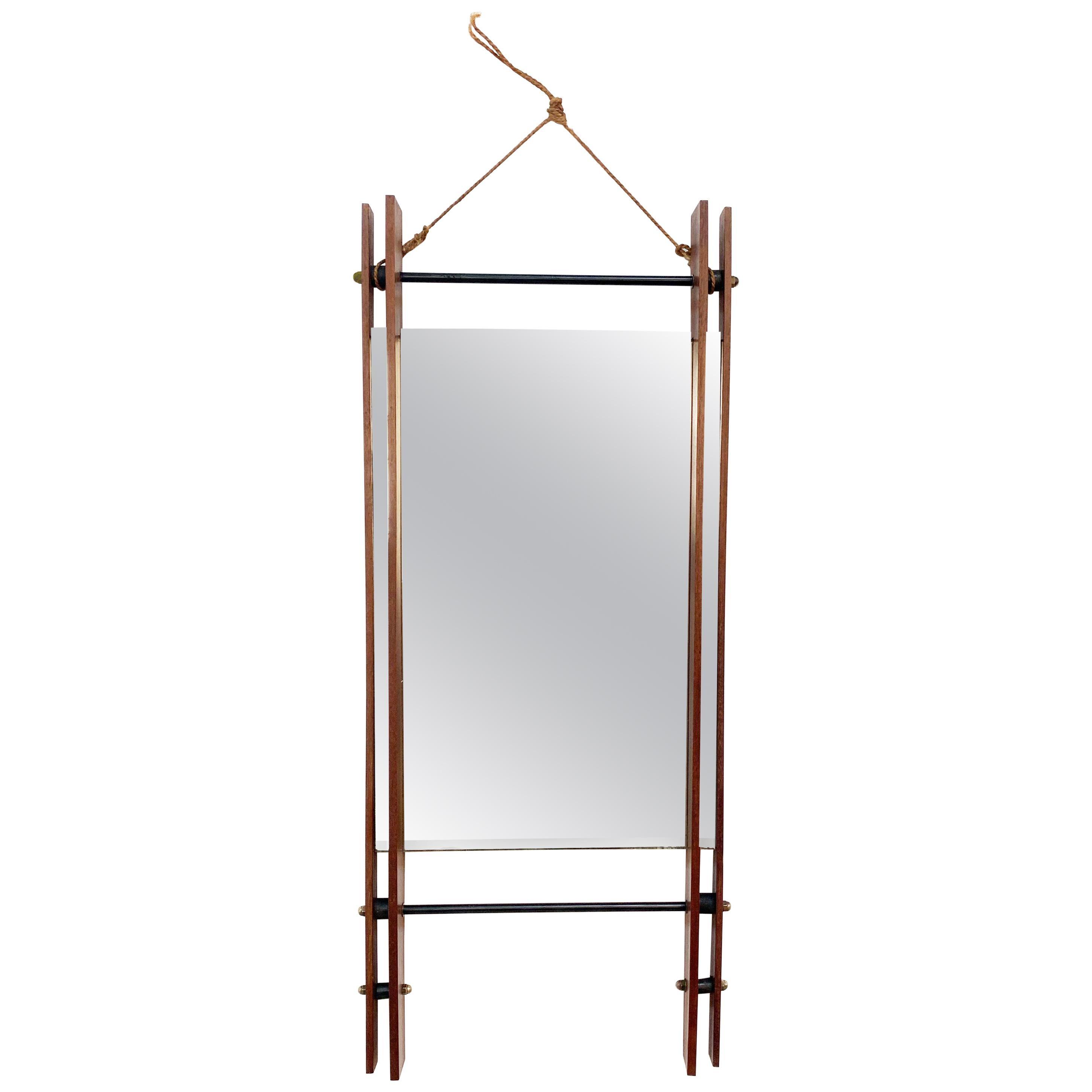 Rectangular Mirror with Double Teak Frame, Wall Mirror, Italy, 1950s