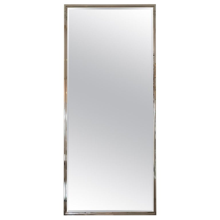 Rectangular Mirror with Polished Nickel Surround For Sale