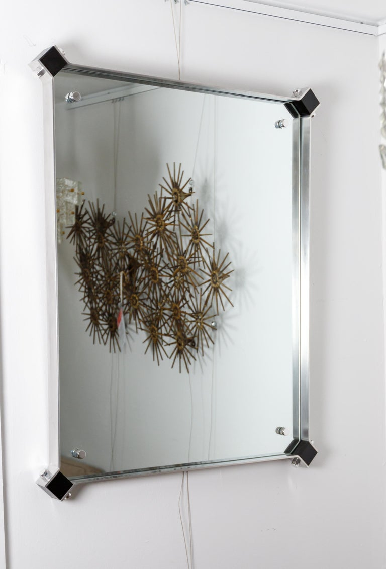 Italian Rectangular Mirror with Stainless Steel Surround with Black Corner Details For Sale
