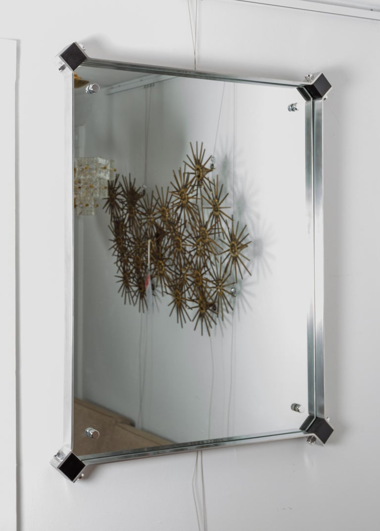 Rectangular Mirror with Stainless Steel Surround with Black Corner Details In Good Condition For Sale In Bridgehampton, NY