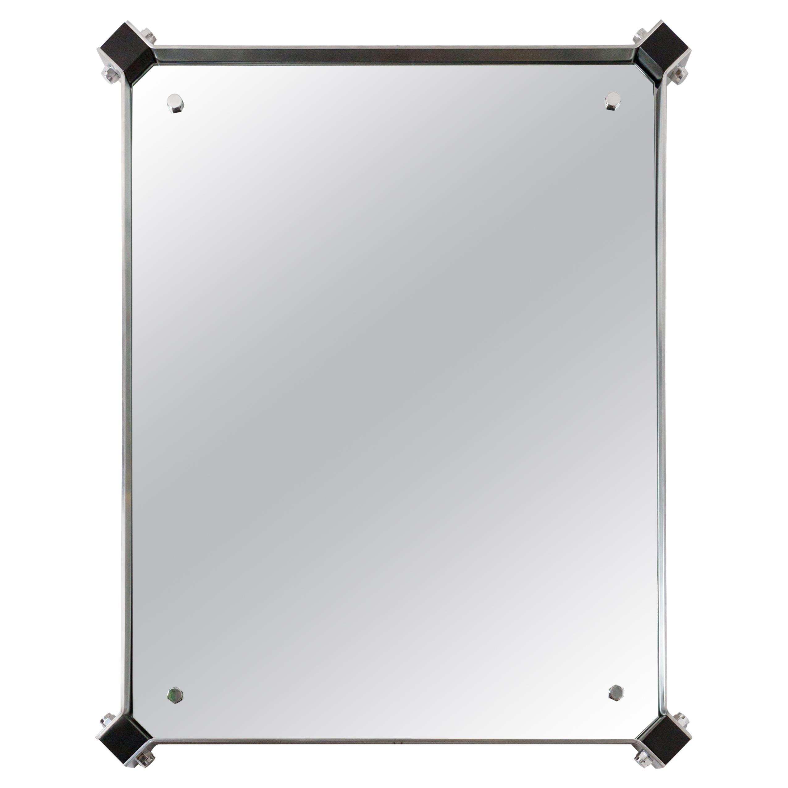 Rectangular Mirror with Stainless Steel Surround with Black Corner Details