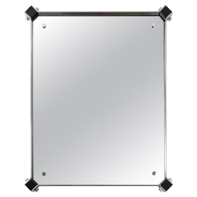 Rectangular Mirror with Stainless Steel Surround with Black Corner Details For Sale