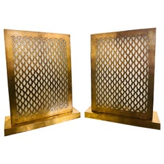 Rectangular Modern Moroccan Brass Table Lamp, a Pair