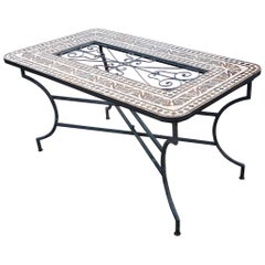 Rectangular Moroccan Mosaic Dinning or Coffee Table, Brown