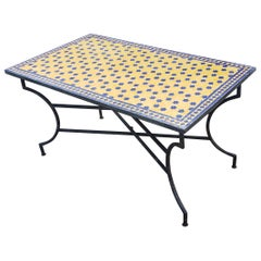 Rectangular Moroccan Mosaic Dinning Table, Yellow / Blue