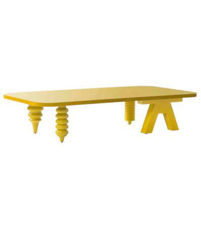 Rectangular multileg low table by Jaime Hayon Dimensions: D 100 x W 160 x H 35 cm  Materials: Tabletop in MDF veneered in walnut nature effect (NG EN). Legs are made in solid lacquered or stained wood to match with the table top. Available in sizes