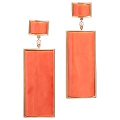 Rectangular Natural Coral Earrings in 18 Karat Yellow Gold
