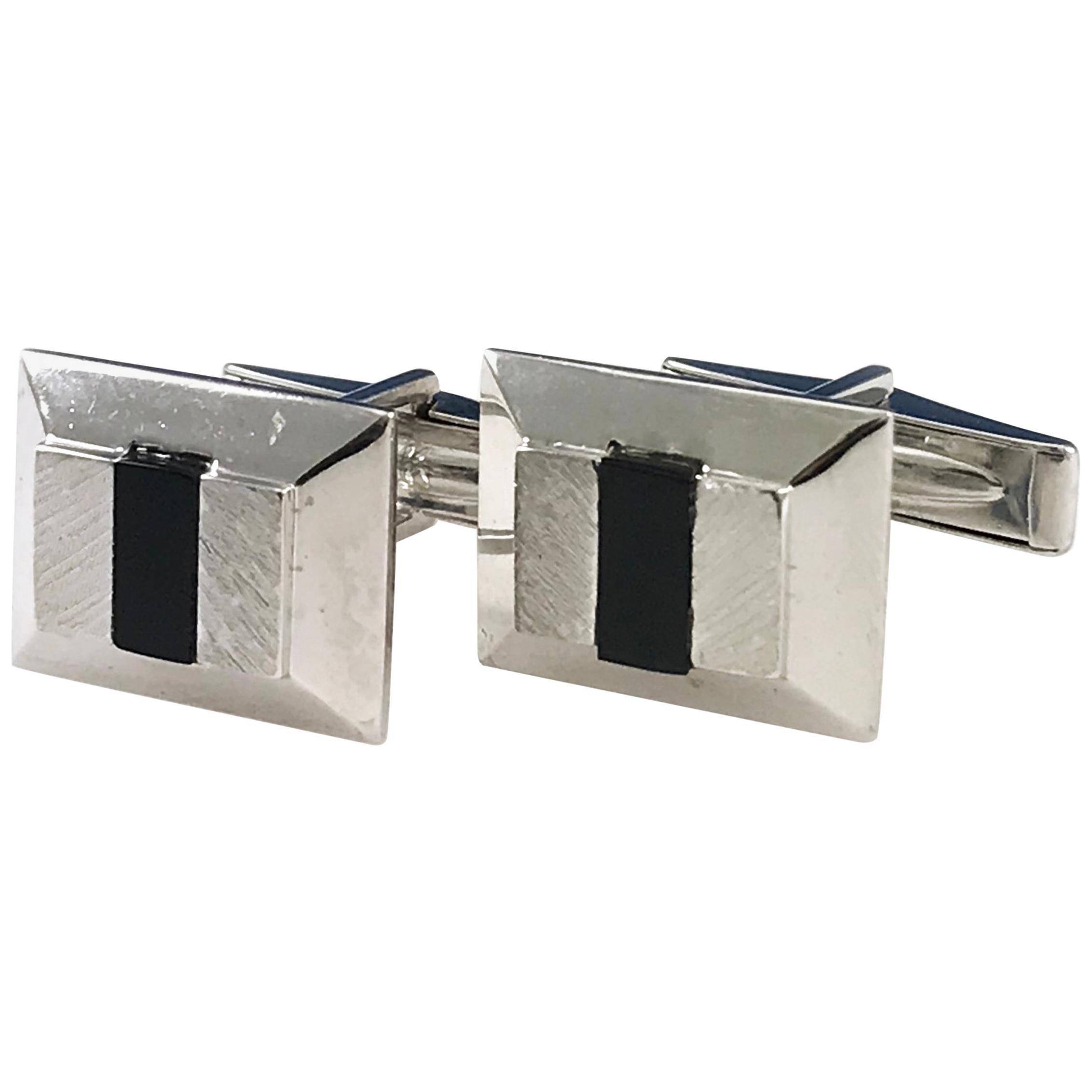 Rectangular Onyx White Gold Cufflinks