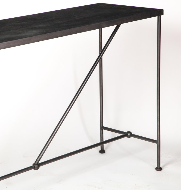 Rectangular Patinated Metal Side Table, Designed by Juan Montoya, Modern In Good Condition For Sale In New York, NY