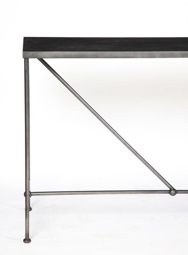 Rectangular Patinated Metal Side Table, Designed by Juan Montoya, Modern For Sale 1
