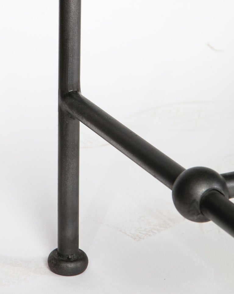 Rectangular Patinated Metal Side Table, Designed by Juan Montoya, Modern For Sale 4