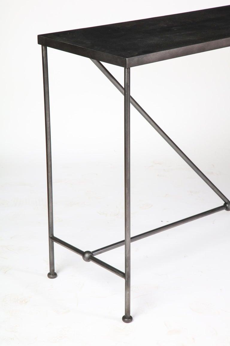 Rectangular Patinated Metal Side Table, Designed by Juan Montoya, Modern For Sale 6