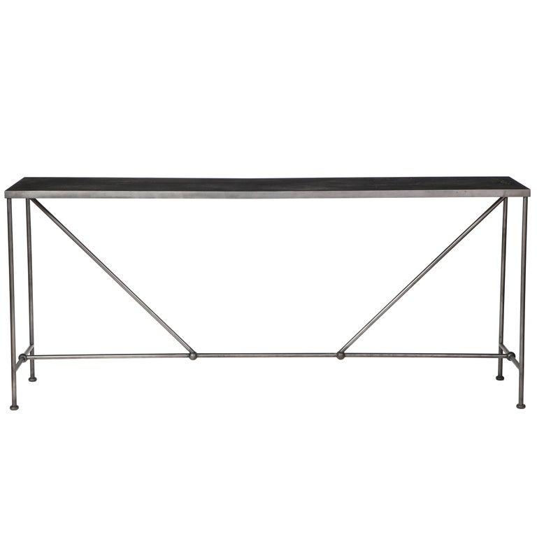 Rectangular Patinated Metal Side Table, Designed by Juan Montoya, Modern For Sale