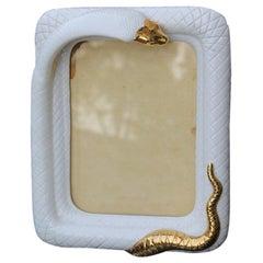 Rectangular Picture Frame Tommaso Barbi Ceramic White Snake Gold, 1970s, Italy