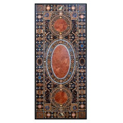 Rectangular Pietre Dure Classical Mosaic 12-Seat Dinning Lapis Table Top