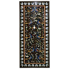 Rectangular Pietre Dure Classical Mosaic Black Marble Table Top with Lapis Inlay