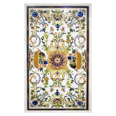 Rectangular Pietre Dure Classical Mosaic White Marble Table Top