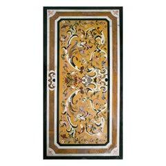 Rectangular Pietra Dura Mosaic Black Marble 10-Seat Dining Table Top