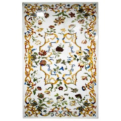 Rectangular Pietra Dura White Marble and Lapis Mosaic 6-Seat Dining Table Top
