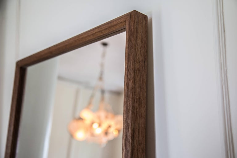American Wood Rectangular Plane Floor Mirror in Walnut by Fort Standard For Sale