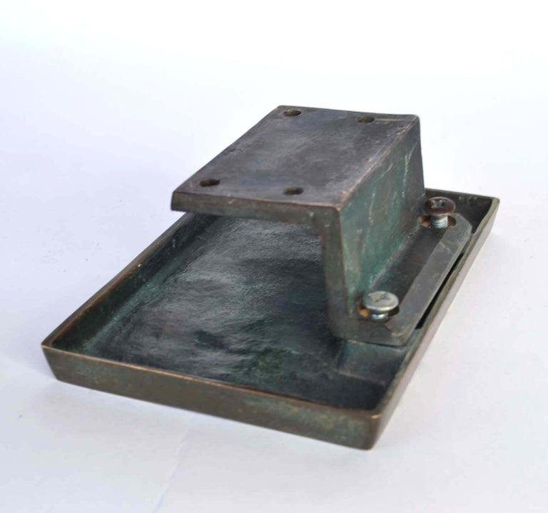 Rectangular Push & Pull Bronze Cast Door Handle with Relief In Good Condition For Sale In London, GB