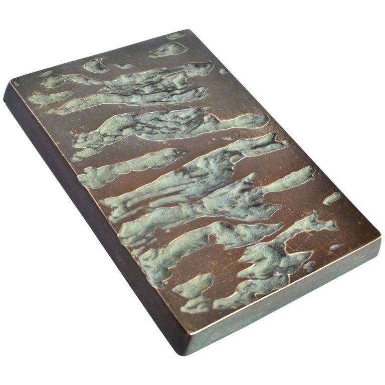 Rectangular Push & Pull Bronze Cast Door Handle with Relief For Sale