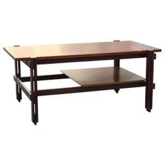 Rectangular Rational Midcentury Italian Design Teak Wood Coffee Table Brown