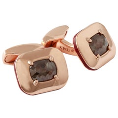 Rectangular Rose Cut Diamond Cufflinks 1.70 Carat Gold-Plated Limited Edition