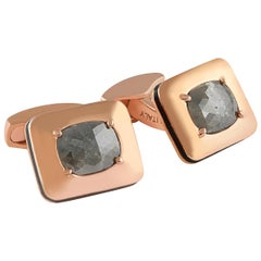 Rectangular Rose Cut Diamond Cufflinks, Rose Gold Plated 'Limited Edition- 1/1'