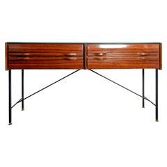 Rectangular Rosewood Four Drawer Sideboard/Console with Blackened Iron Supports